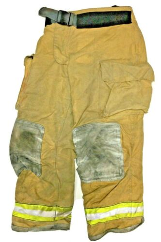 40x32 Globe Gxtreme Brown Firefighter Turnout Pants With Yellow Tape P1228