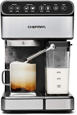 6 In 1 Espresso Coffee Machine Cappuccino Maker Latte Wsteam Glass Pot Washable