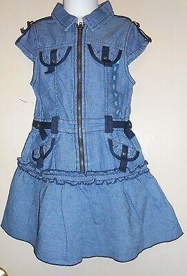 The Childrens Place Girls Cap Sleeve Denim Cargo Dress Blue Six (6) NWT