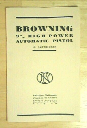 Manual for Browning Hi Power, P-35, FN Herstal 9mm auto pistol