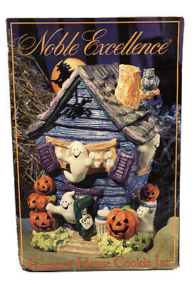 RARE! Noble Excellence Halloween Haunted House Cookie Jar Witch Ghosts Pumpkins