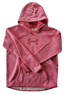 UNDER ARMOUR Storm Cold Gear Women's Heather Pink Hoodie Thumb Holes Size Large