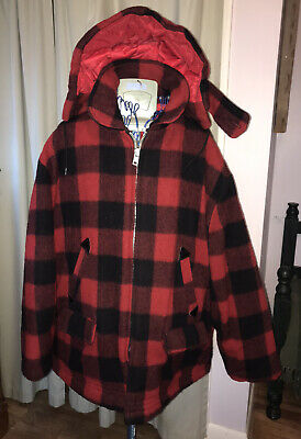 70s Red plaid Jacket Wool Vintage Hunting coat Red and Black plaid Jacket Union made JC Penney metal pull Talon zipper front quilted liner M