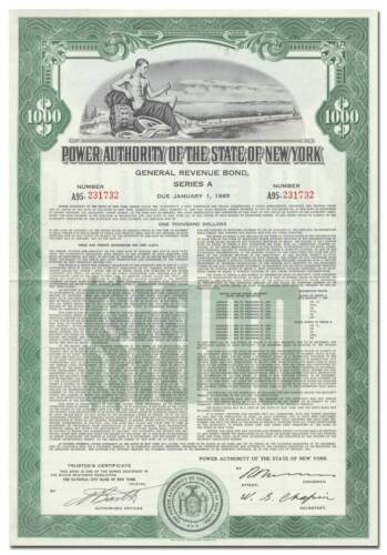 Power Authority of the State of New York Bond Certificate