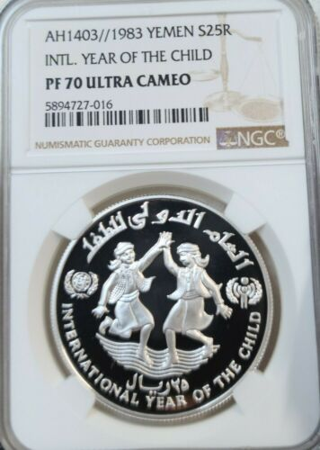 1983 YEMEN SILVER 25 RIYALS S25R YEAR OF THE CHILD NGC PF 70 ULTRA CAMEO PERFECT