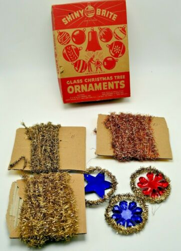 Vintage Christmas Tinsel Garland Feather Tree 3 Pieces & Ornaments 45