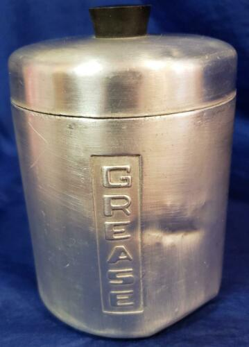 1950's Spun Aluminum Silver Grease Kitchen Container Canister Jar MCM Vintage