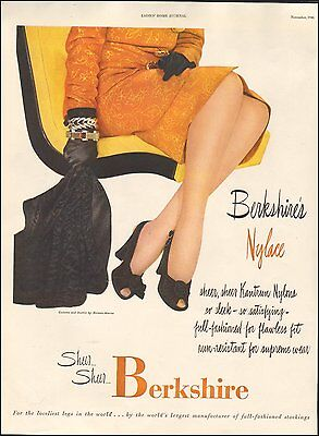 1946-Vintage Ad for Berkshire's Nylace Stockings`Sexy Legs/Black Shoes (012315)