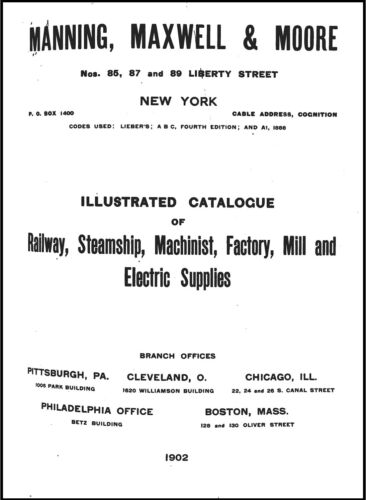 Manning, Maxwell & Moore Illustrated Catalogue of Railway, Steamship, Machinist,