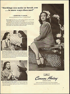 1944-Cannon Hosiery`Actress Dorothy Lamour`Photo Sexy Legs-Vintage Ad  (010115)