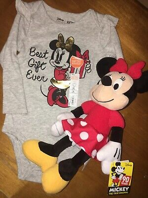 DISNEY Minnie Mouse Best Gift Ever Bodysuit Sz  18 Months NEW + 90 Yr Plush
