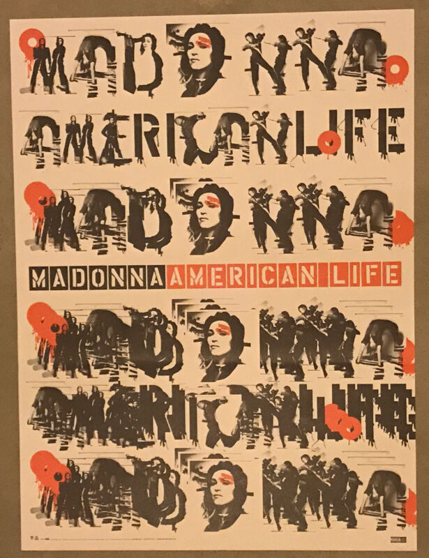"""Madonna American Life 2003 Promo Poster Very Rare! 18""""x24"""" Mint Condition"""