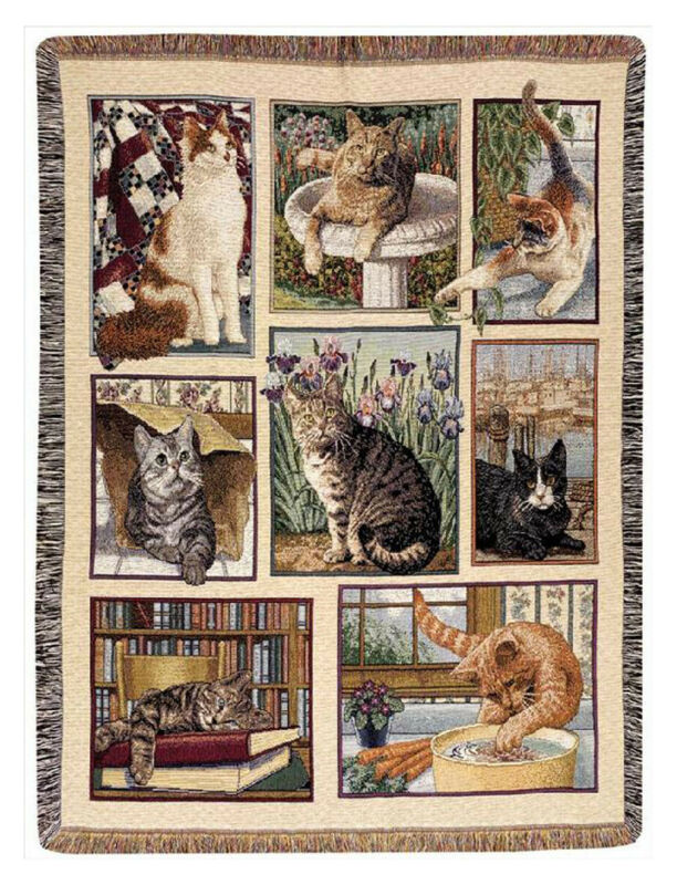 "THROWS - ""CURIOUS CATS"" TAPESTRY THROW BLANKET - 47"" x 60"""