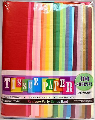 "Assorted Rainbow Color Tissue Paper Bonus Pack, 20"" x 26"", Pack Of 100 Sheets!"