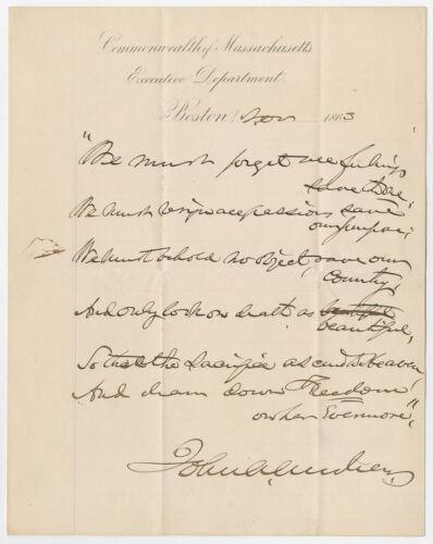 1863 Patriotic Civil War Poem Written by Abolitonist Gov. Andrew, Massachusetts
