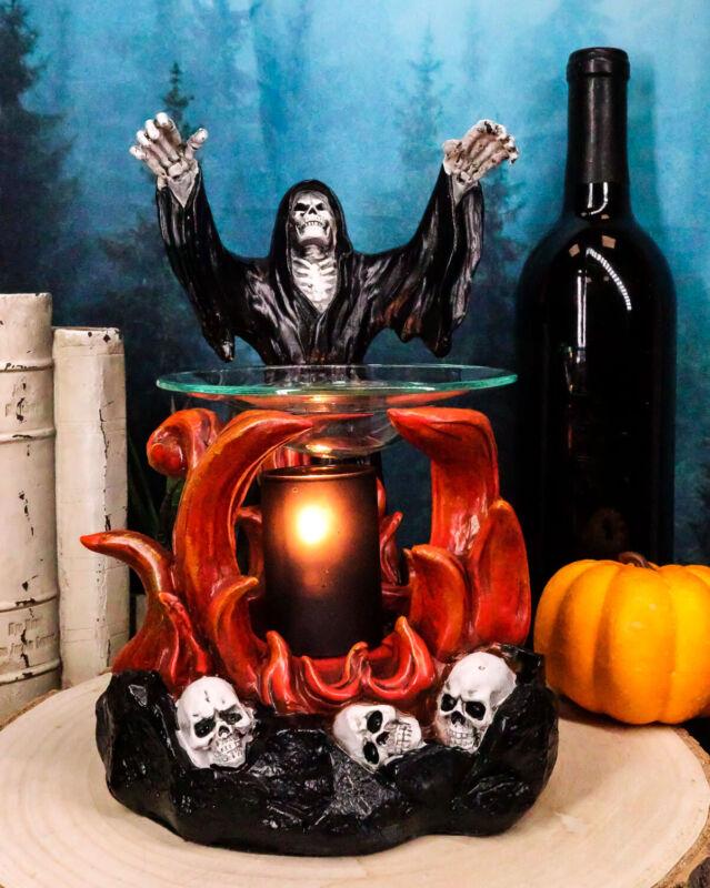 Ebros Dark Conjuring Grim Reaper Fire Magic Electric Oil Burner Tart Warmer