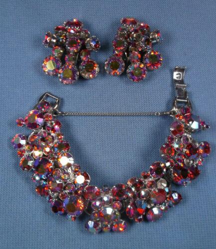 Vintage Juliana Rhinestone Bracelet and Clip On Earrings