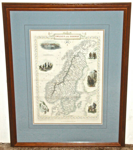John Rapkin Hand Colored Engraved Map of Sweden and Norway