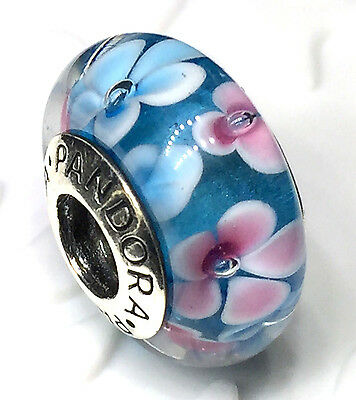 NEW Authentic Pandora 925 silver murano bead charm muran blue pink flower garden