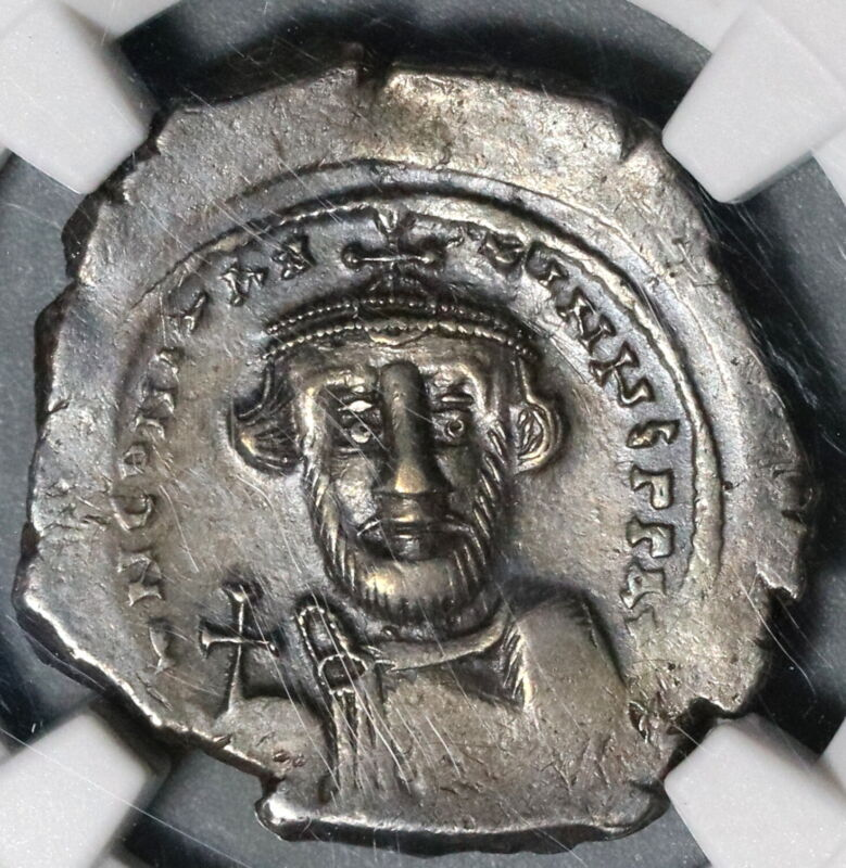 641 NGC Ch VF Constans II Hexagram Byzantine Silver Pedigree Coin (20052101C)