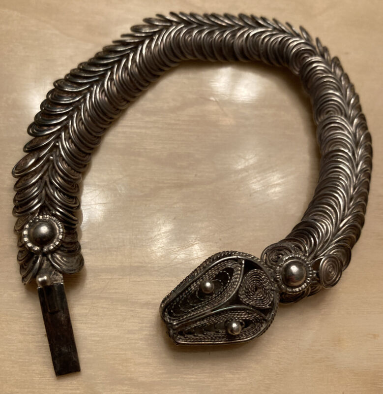 Antique Sterling Silver Snake Bracelet Double Row Circular Coil Links & Filigree