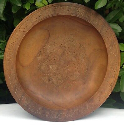Vintage Black Forest Turned Relief Carved Wooden Plate Dish A Very Lovely Thing!