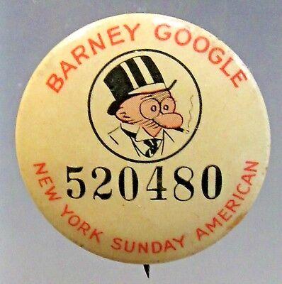 1930's DeBeck's BARNEY GOOGLE N.Y. Sunday American comic pinback button ^