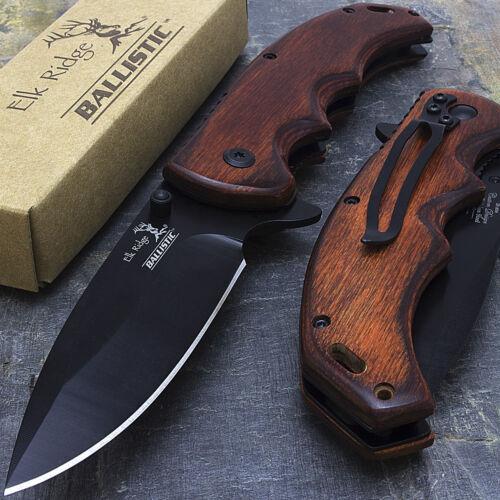 "8.25"" ELK RIDGE EDC BROWN PAKKAWOOD SPRING ASSISTED TACTICAL FOLDING KNIFE Blade"