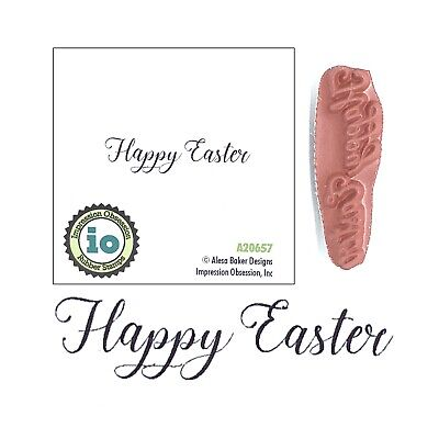 Easter Phrases (Happy Easter Words Rubber Stamp Impression Obsession Cling Stamps Phrase A20657)