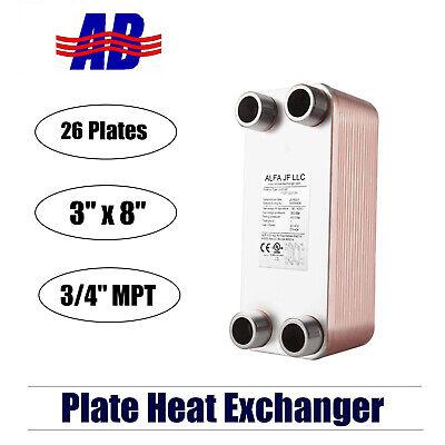 Brazed Plate Heat Exchanger Ss316l 3x8 26 Plates 34 Mpt 210000 Btu