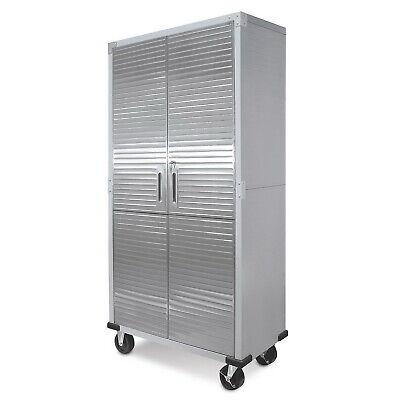 Heavy-duty Tall Garage Storage Cabinet Lock 4 Shelves Pegboard Locker Tool Solid