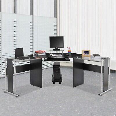 L-shaped Corner Computer Desk Pc Laptop Gaming Table Office Workstation Glass