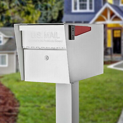 Large Lockable Mailbox Residential Modern Heavy Duty Secure Red Flag Steel 3 Key