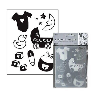 Baby Embossing Folder Darice Folders Duck,Blocks,Moon,Carriage,Bib,Pin,Shirt