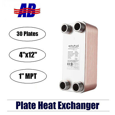 Brazed Plate Heat Exchanger Stainless Steel Ss316l 4x12 30 Plates 350000 Btu