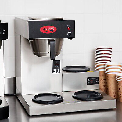 3 Pot Commercial Coffee Maker Machine Avantco Warmer Pourover 12 Cup Brewer New