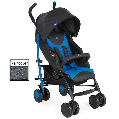 NEW CHICCO MR BLUE ECHO PUSHCHAIR UMBRELLA STROLLER BABY BUGGY WITH RAINCOVER