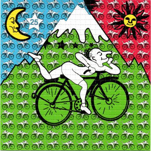 SMALL Bicycle Day Hofmann BLOTTER ART perforated sheet paper psychedelic art