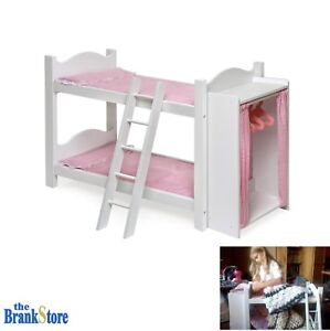 doll bunk bed clothes cabinet 18 american girl dolls furniture mattress bedding