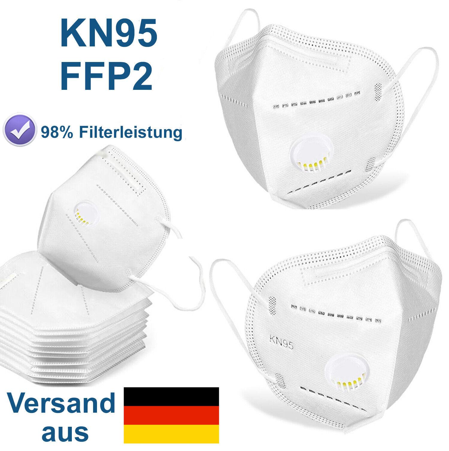 Atemschutzmaske FFP2 mit Ventil Mundschutz Maske KN95 98% Filterung Schutzmaske