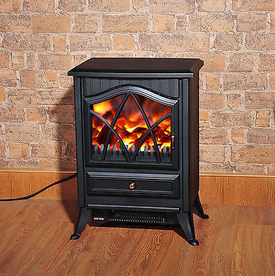 Fireplace Log Burning Flame Effect Electric Stove Standing Fan Heater 1800W