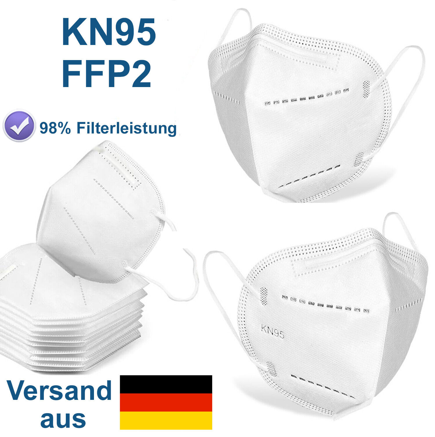Atemschutzmaske FFP2 Mundschutz Filtermaske Mundmaske Gesichtsmaske KN95 Maske
