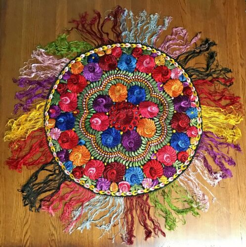 "Antique Vtg Gorgeous Needlework Table Doilies Bo Ho Hippie Large 37"""