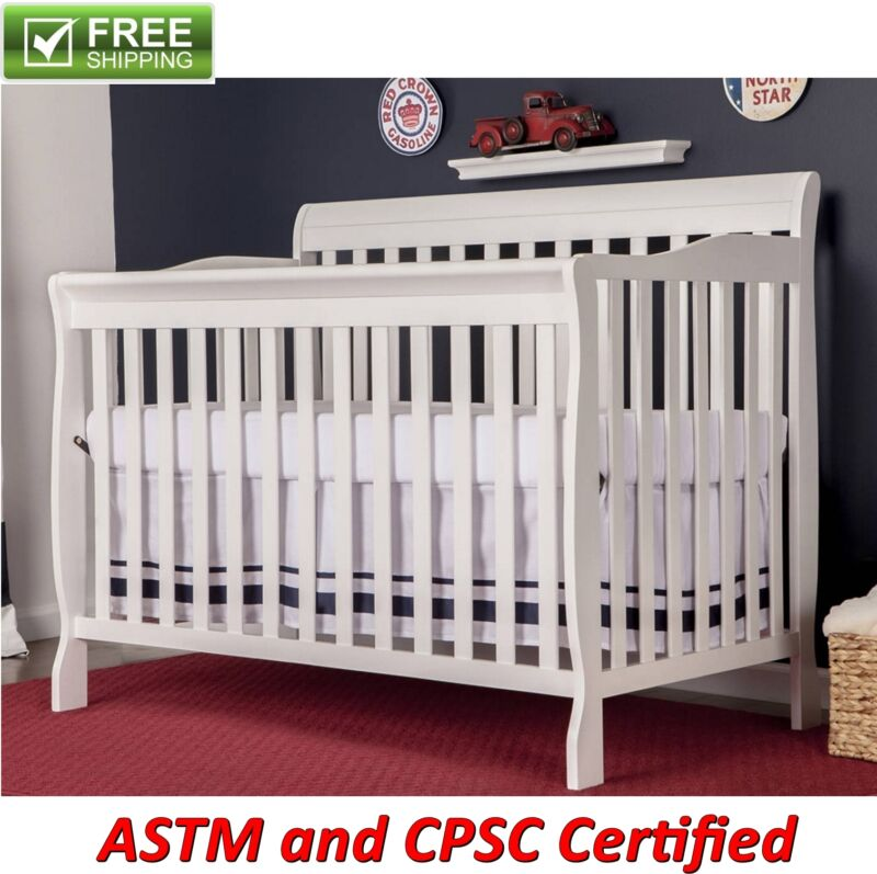 Convertible Baby Bed 5-in-1 Full Size Crib White Nursery Bedroom Furniture New!