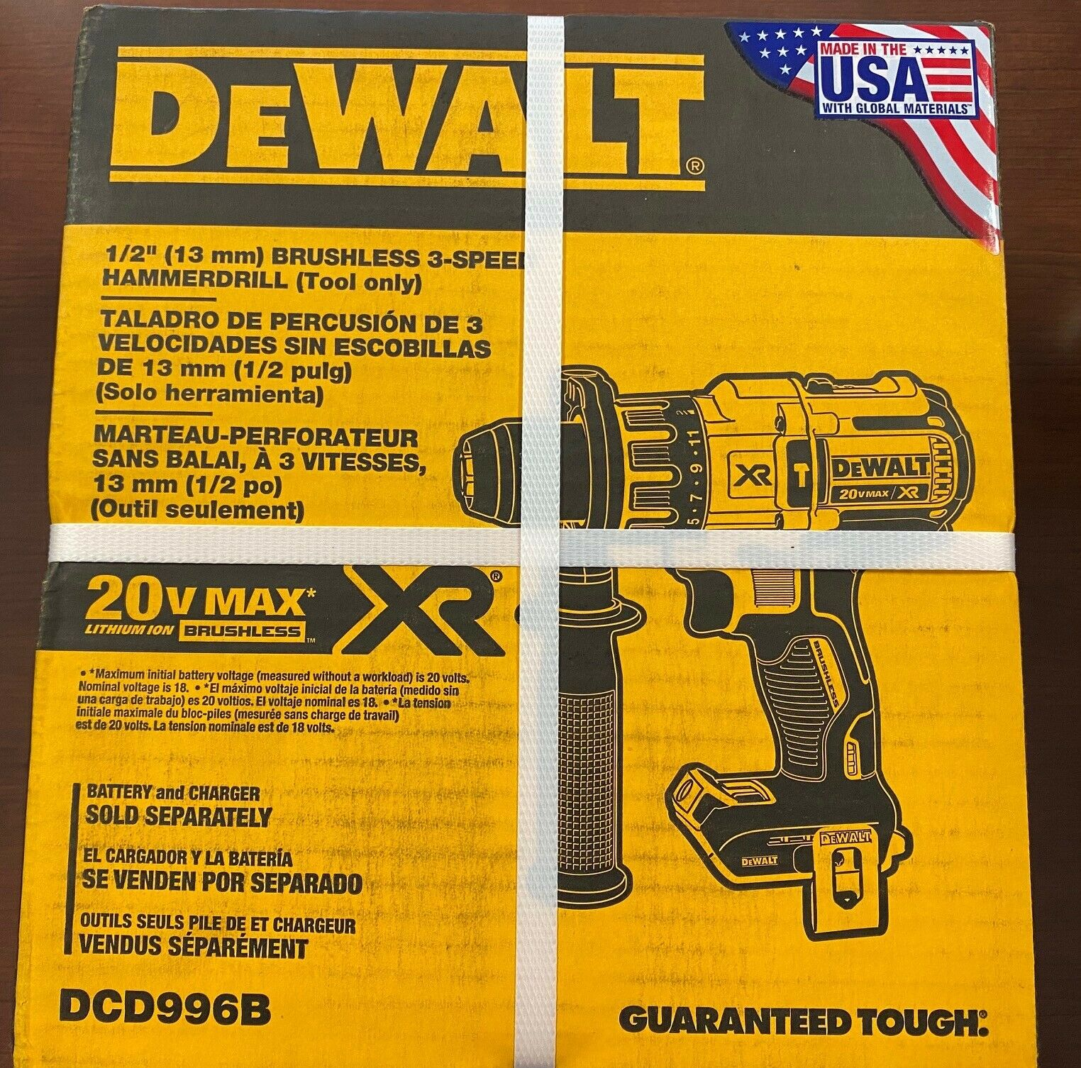 "BRAND NEW DEWALT DCD996B 20V Max XR Li-Ion 1/2"" Brushless 3-"