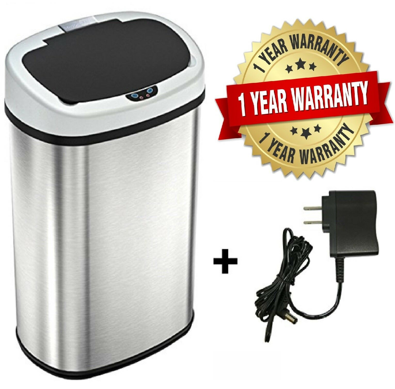 New 13-Gallon Touch Free Sensor Automatic Touchless Trash Can Kitchen Office