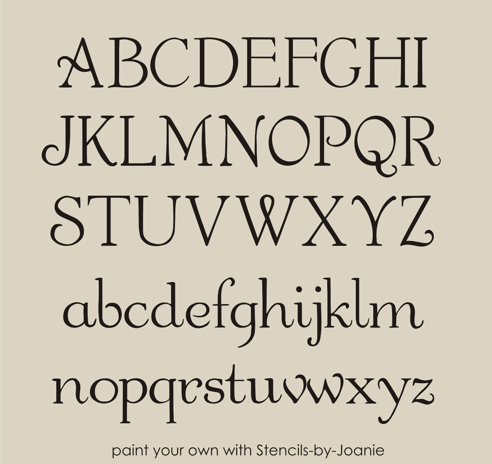 French Chic Alphabet Stencil Shabby Font 3 Caps & Lc Letters Country Art Signs