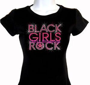 BLACK-GIRLS-ROCK-Pink-Rhinestone-Iron-on-T-Shirt-Pick-Size-S-3XL-Top-Bling