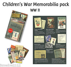 CHILDREN IN WW II /  WORLD WAR 2  MEMORABILIA PACK  - KS2  teaching resources
