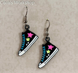 Quality-Black-Canvas-Converse-Boots-Star-Shoes-Funky-Kitsch-Enamel-Drop-Earrings